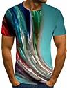 Men\'s T shirt Shirt Geometric 3D Plus Size Print Short Sleeve Daily Tops Basic Streetwear Round Neck Blue