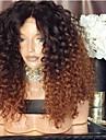 Syntetiska peruker Afro Kinky Asymmetrisk frisyr Peruk Medium längd Ombre Brown Syntetiskt hår 16 tum Dam Bästa kvalitet Brun