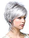 Syntetiska peruker Kinky Rakt Asymmetrisk frisyr Peruk Korta Sliver White Syntetiskt hår 10 tum Dam Fluffig Silver