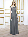 A-Line V Neck Floor Length Chiffon Elegant Engagement / Formal Evening Dress 2020 with Crystals / Ruched / Pleats