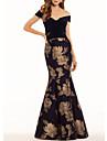 Mermaid / Trumpet Off Shoulder Floor Length Satin Floral Engagement / Formal Evening Dress 2020 with Pattern / Print