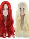 Syntetiska peruker Lockigt Asymmetrisk frisyr Peruk Lång Ljusguldig Röd Syntetiskt hår 27 tum Dam Bästa kvalitet Röd Blond