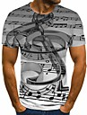 Men\'s Plus Size T-shirt Geometric 3D Graphic Pleated Print Short Sleeve Tops Streetwear Exaggerated Round Neck Gray