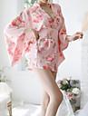 女性用 ラッフル セクシー 着物 ナイトウエア プリント ピンク フリーサイズ