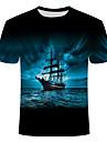 Men\'s Plus Size T-shirt Geometric Print Short Sleeve Tops Basic Streetwear Round Neck Blue
