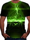 Men\'s Plus Size T-shirt 3D Graphic Print Short Sleeve Tops Casual Basic Round Neck Rainbow Purple Yellow / Summer