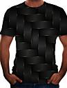 Men\'s T shirt Shirt Color Block 3D Plus Size Short Sleeve Daily Tops Basic Round Neck Black