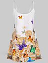 Women's Sundress Short Mini Dress Blue Yellow Red Sleeveless Geometric Print Summer Round Neck Elegant Casual Holiday Beach Loose 2021 L XL XXL 3XL 4XL 5XL