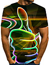 Men\'s Plus Size T-shirt 3D Graphic Print Short Sleeve Tops Exaggerated Round Neck White Red Orange / Summer