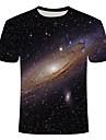 Homens Camiseta Geometrica Tamanhos Grandes Estampado Manga Curta Diario Blusas Basico Moda de Rua Decote Redondo Preto