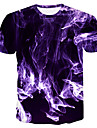 Men\'s T shirt Graphic 3D Plus Size Short Sleeve Daily Tops Basic Purple