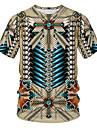 Homens Camiseta Camisa Social Solido Tribal 3D Patchwork Estampado Manga Curta Diario Blusas Basico Moda de Rua Decote Redondo Caqui