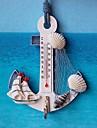 teploměr kotva tvar zeď hák dřevo námořní ulita domácí závěsné řemesla umění zeď závěs háček dekorace středomořský styl