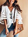 Γυναικεία Μεγάλα Μεγέθη Μπλούζα Πουκάμισο Μονόχρωμο Λαιμόκοψη V Άριστος Λευκό Ρουμπίνι Ανθισμένο Ροζ