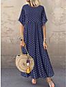 여성용 루즈핏 맥시 드레스 푸른 옐로우 와인 반 소매 도트무늬 프린트 여름 라운드 넥 뜨거운 캐쥬얼 홀리데이 루즈핏 2021 L XL XXL 3XL 4XL 5XL
