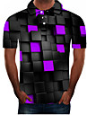Men\'s Polo Graphic Plus Size Short Sleeve Daily Tops Streetwear Exaggerated Purple