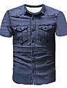 Men\'s T-shirt 3D Abstract Graphic Print Short Sleeve Tops Business Streetwear Round Neck Blue / Work