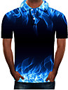 Men\'s Polo Graphic Plus Size Short Sleeve Daily Tops Streetwear Exaggerated Blue