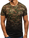Men\'s T shirt Shirt Camo / Camouflage Short Sleeve Daily Slim Tops Basic Elegant Round Neck Red Army Green Black / Sports