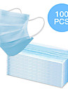 100 pcs Face Mask Waterproof Breathable Disposable Protection 3 Layers Nonwoven Fabric Melt Blown Fabric Filter Blue