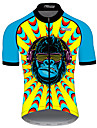 21Grams Men\'s Short Sleeve Cycling Jersey Spandex Polyester Blue+Yellow Patchwork Animal Monkey Bike Jersey Top Mountain Bike MTB Road Bike Cycling UV Resistant Breathable Quick Dry Sports Clothing