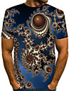Homens Camiseta Camisa Social Grafico Geometrica 3D Tamanhos Grandes Pregueado Estampado Manga Curta Diario Blusas Moda de Rua Exagerado Decote Redondo Arco-iris