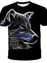 Men\'s Plus Size 3D Graphic Patchwork Print T-shirt Basic Street chic Daily Going out Round Neck Black / Short Sleeve / Animal