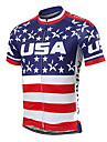 21Grams Men\'s Short Sleeve Cycling Jersey Spandex Polyester Blue / White American / USA Stars National Flag Bike Jersey Top Mountain Bike MTB Road Bike Cycling UV Resistant Breathable Quick Dry Sports