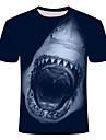 Men\'s Plus Size T-shirt Animal Print Short Sleeve Slim Tops Basic Round Neck Navy Blue