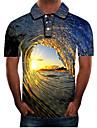 男性用 ゴルフシャツ テニスシャツ グラフィック 3D プラスサイズ 半袖 日常 スリム トップの ストリートファッション 誇張された シャツカラー ブルー