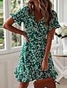 Women\'s Wrap Dress Short Mini Dress Green Navy Blue Short Sleeve Floral Ruffle Summer Deep V Stylish Hot Holiday 2021 S M L XL XXL