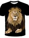 Men\'s T shirt Shirt 3D Animal Print Short Sleeve Daily Tops Streetwear Exaggerated Round Neck Rainbow