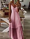 여성용 A 라인 드레스 맥시 드레스 푸른 퍼플 옐로우 블러슁 핑크 와인 그레이 민소매 한 색상 주름장식 여름 V 넥 S M L XL XXL 3XL 4XL 5XL / 플러스 사이즈 / 플러스 사이즈