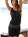 Women\'s Sheath Dress Short Mini Dress Black Sleeveless Solid Color Round Neck Hot Slim S M L XL XXL / Cotton / Cotton