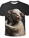 Herren T-Shirt Grafik 3D Tier Druck Kurzarm Alltag Oberteile Street Schick UEbertrieben Rundhalsausschnitt Regenbogen