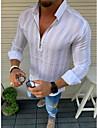 בגדי ריקוד גברים חולצה פסים שרוול ארוך משרד / קריירה צמרות פשוט בסיסי יום יומי\קז'ואל נוח צהוב לבן שחור