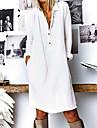 Women\'s Shift Dress Knee Length Dress Yellow White Navy Blue Long Sleeve Solid Color Button Spring Summer Shirt Collar Chic & Modern Hot Casual Loose 2021 S M L XL XXL 3XL