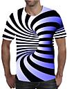 Miesten T-paita Kuvitettu Geometrinen 3D Pluskoko Painettu Lyhythihainen Pyhäpäivä Topit Katutyyli Liioiteltu Pyöreä kaula-aukko Uima-allas Purppura Keltainen