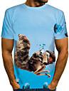 T-shirt Chemise Homme Graphique 3D Animal Grandes Tailles Imprime Manches Courtes Quotidien Sortie Standard Polyester basique Chic de Rue Col Rond