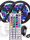 2x5M Flexible LED Light Strips Light Sets RGB Strip Lights 600 LEDs SMD3528 8mm 1 44Keys Remote Controller 1 x 12V 3A Adapter 1 set Multi Color Christmas New Year's Waterproof Party