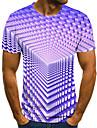 בגדי ריקוד גברים טי שירטס חולצה קצרה חולצה גראפי גיאומטרי 3D מידות גדולות דפוס שרוולים קצרים חגים צמרות בסיסי מעצב סגנון רחוב מוּגזָם צווארון עגול סגול ורוד מסמיק זהב