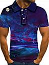Herren Golfhemd Tennishemd Grafik 3D UEbergroessen Kurzarm Alltag Oberteile Street Schick UEbertrieben Hemdkragen Regenbogen