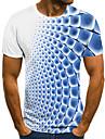 Homens Camiseta Camisa Social Grafico 3D Tamanhos Grandes Estampado Manga Curta Para Noite Blusas Moda de Rua Exagerado Decote Redondo Azul Roxo Amarelo