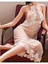 女性用 スーツ ナイトウエア レース / バックレス / 切り抜き, ジャカード / ソリッド ホワイト ブラック フリーサイズ