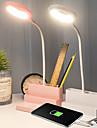 Multifuncional led lampada de mesa com porta usb caneta recipiente mini ventilador banco de potencia protecao ocular carregamento usb escritorio em casa presente criativo