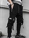Hombre Basico Persona que practica jogging Corte Ancho Pantalones Color solido Longitud total Negro