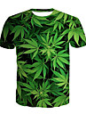 Men\'s T shirt Shirt Floral Color Block 3D Plus Size Print Short Sleeve Daily Tops Basic Round Neck Green / Sports