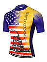 21Grams Men\'s Short Sleeve Cycling Jersey Spandex Polyester Red+Blue American / USA Snake National Flag Bike Jersey Top Mountain Bike MTB Road Bike Cycling UV Resistant Breathable Quick Dry Sports