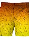 Férfi Alap Pamutszövet nadrág Rövidnadrágok Vékony Nadrág Többszínű 3D Rövid Nyomtatott Narancssárga / Zsinór
