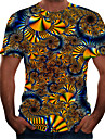 Pánské Tričko Košile Barevné bloky 3D Větší velikosti Tisk Krátký rukáv Denní Štíhlý Topy Základní Kulatý Hnědá
